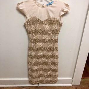 Gold/ivory lace dress